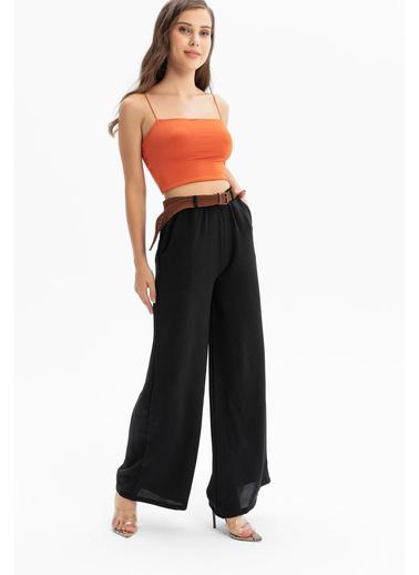 Tiffany&Tomato Örgü Kemer Aerobin Pantolon Siyah